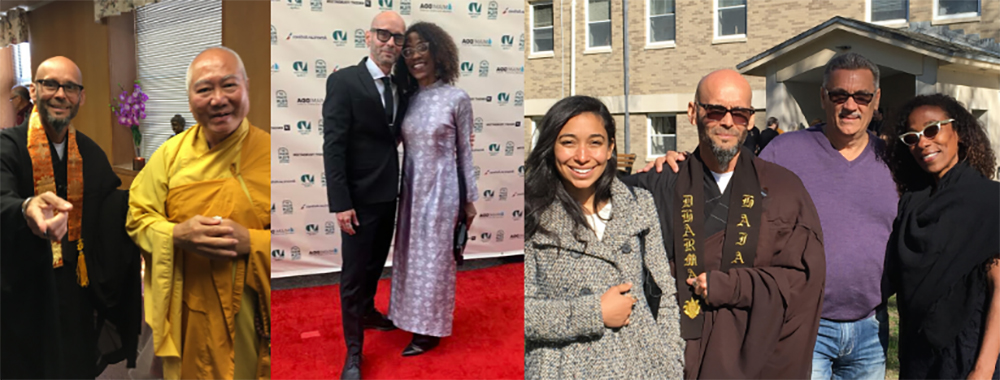 (L to R) Teo with his teacher, Zen Master Thích Trí Hoâng; Red Carpet for World Premiere of Third Trinity, Miami Film Festival 2020; Teo with daughter Jaquén, brother Lenny and wife Lorna