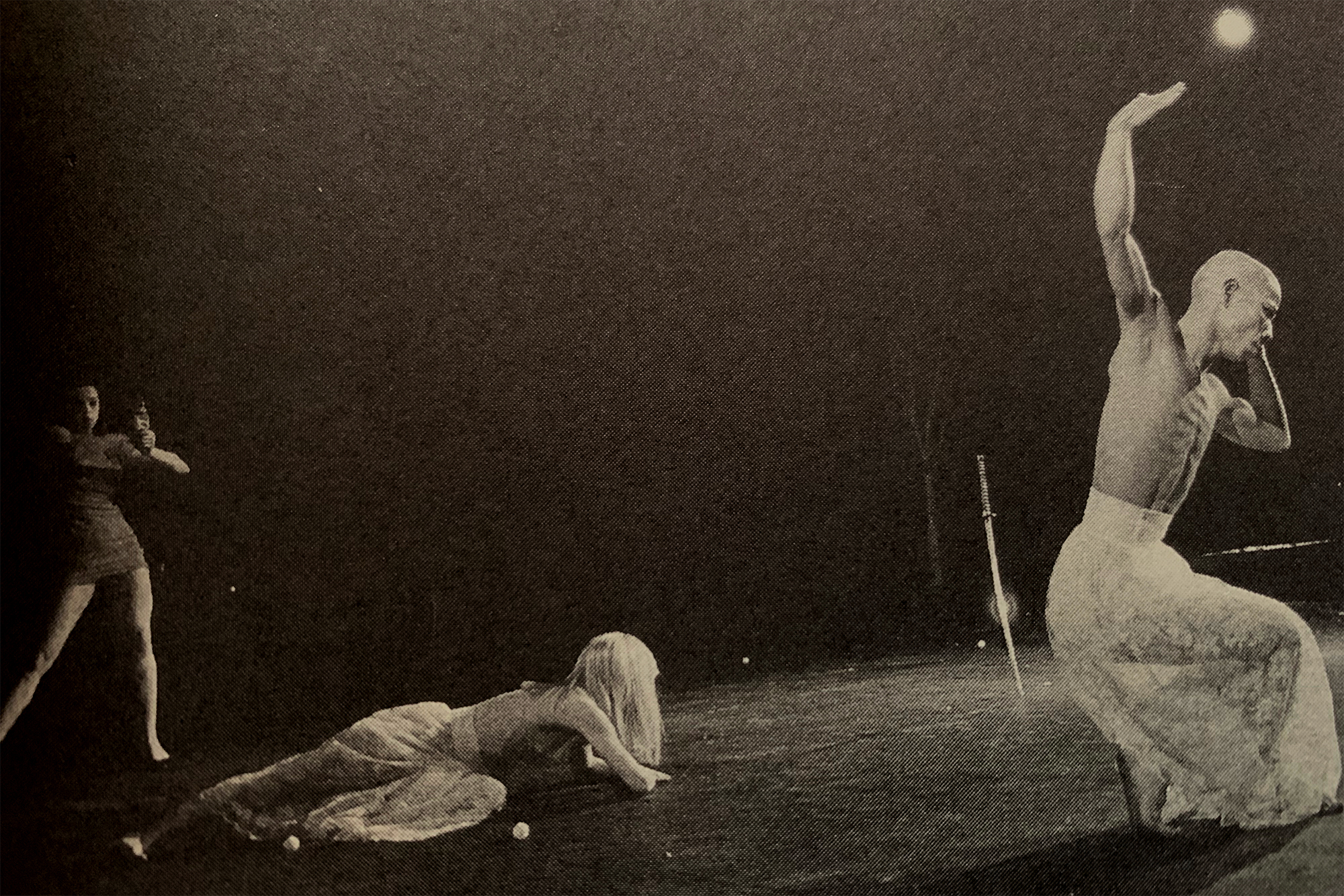 Jordan (on left in the dress and heels) performing with Poppo, on right, in A New Model of the Universe in 1986.