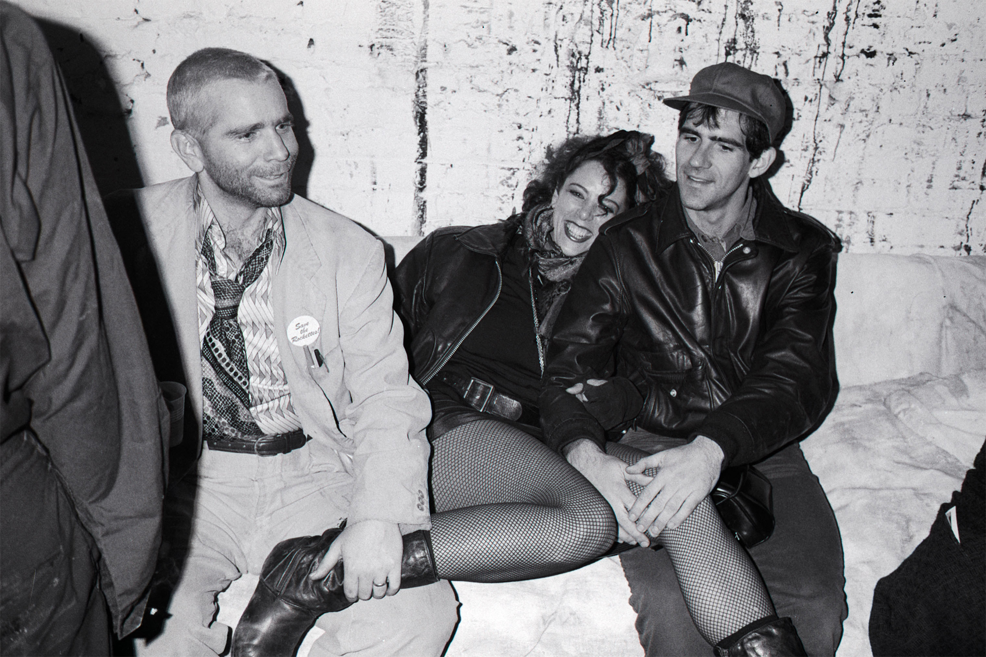 Jordan on Halloween 1985, with boyfriend/artist photographer John Schlesinger on the right and 8BC club co-owner Dennis Gattra on her other side. Photo by Tom Warren.